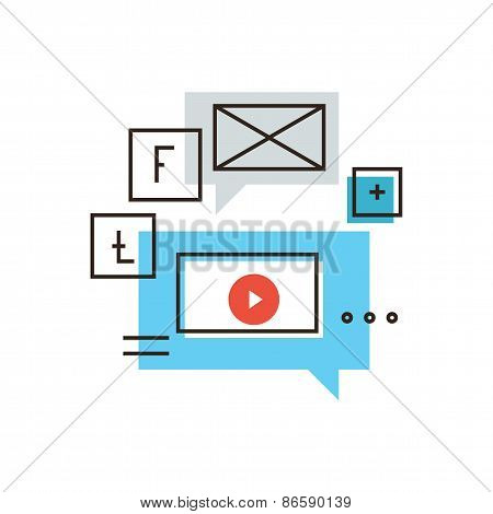 Social Media Marketing Flat Line Icon Concept