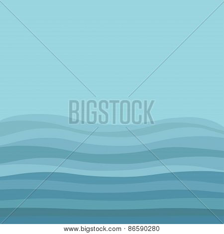 Sea Ocean Water With Blue Waves And Sky Background Abstract Underwater Landscape Flat Design Style