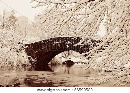 Central Park winter with stone bridge in midtown Manhattan New York City