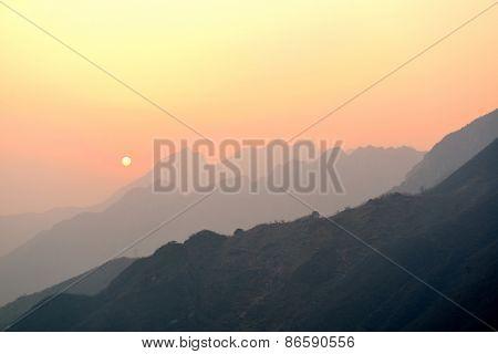 Beautiful sunset over mountains in Mutianyu, Beijing, China