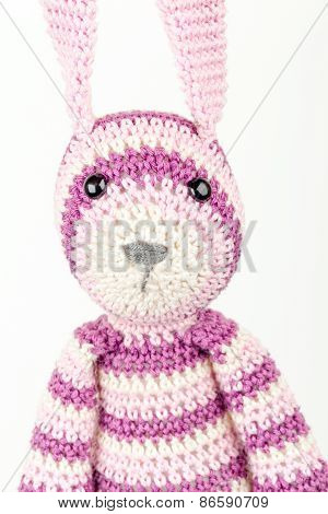 Funny Knitted Rabbit Toy Headshot Portrait On White