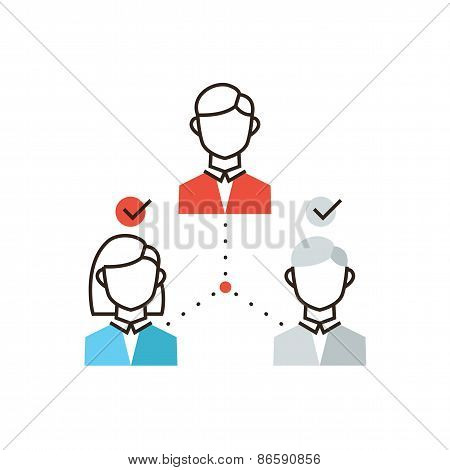 Organization Of Teamwork Flat Line Icon Concept