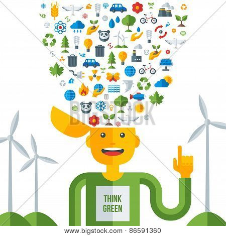 Man with ecology icons in his head, think green.