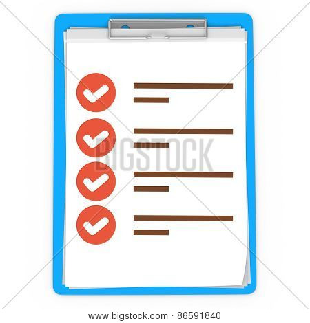 3D Blue Pad Holder With Check Boxes