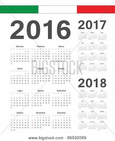Set Of Italian 2016, 2017, 2018 Year Vector Calendars