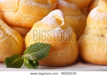 Delicious Profiteroles Sprinkled With Powdered, Macro