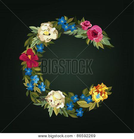 C letter. Flower capital alphabet. Colorful font. Uppercase.