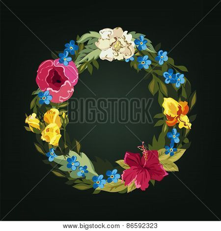 O letter. Flower capital alphabet. Colorful font. Uppercase.
