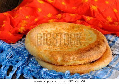 Fatir, Uzbek Flatbread On Blue Arab Scarf And Red Cloth