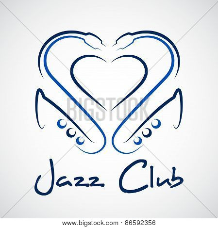 Jazz Club Logo, A Heart Out Of Saxophones