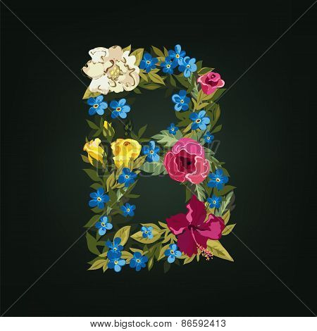 B letter. Flower capital alphabet. Colorful font. Uppercase.