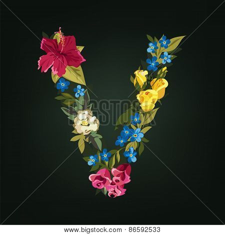 V letter. Flower capital alphabet. Colorful font. Uppercase.