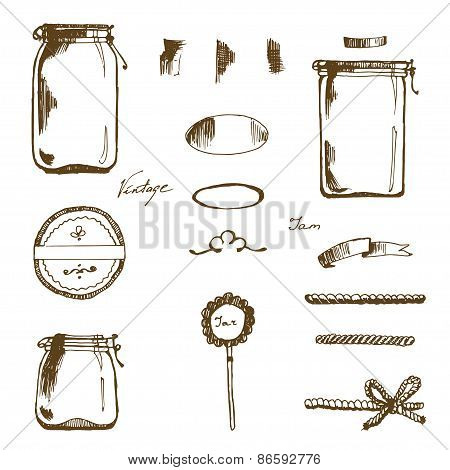 Hande Drawing Jars and labels