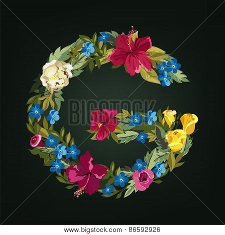 G letter. Flower capital alphabet. Colorful font. Uppercase.