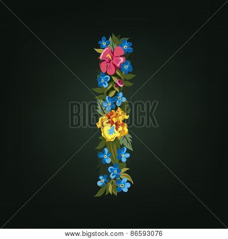 I letter. Flower capital alphabet. Colorful font. Uppercase.