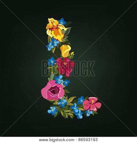 L letter. Flower capital alphabet. Colorful font. Uppercase.