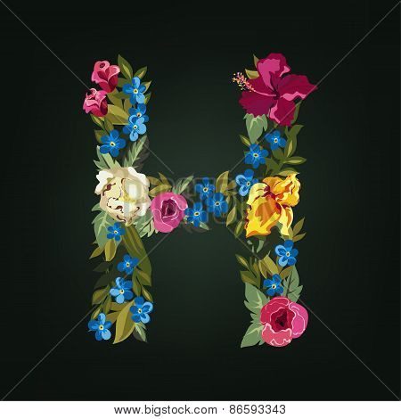 H letter. Flower capital alphabet. Colorful font. Uppercase.