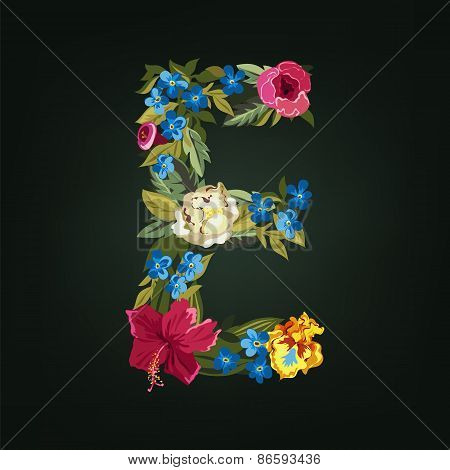 E letter. Flower capital alphabet. Colorful font. Uppercase.