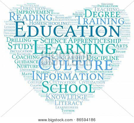 Heart Shaped Education Word Cloud