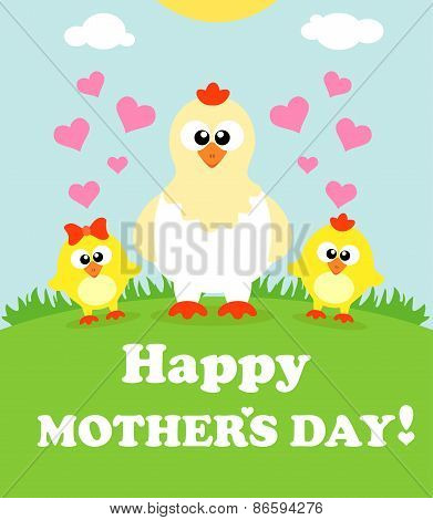 Mother's day background with chickens