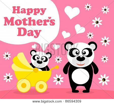 Mother's day background with panda