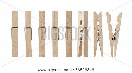 Set Of Wooden Clothes Pins
