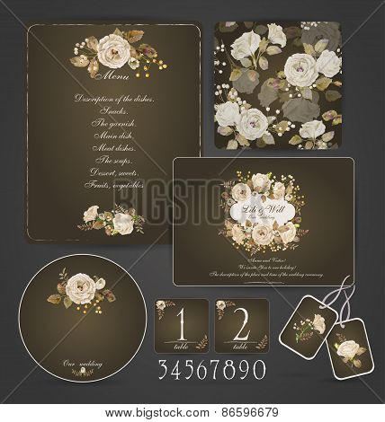 Set Of Templates For Celebration, Wedding. Beige Roses.