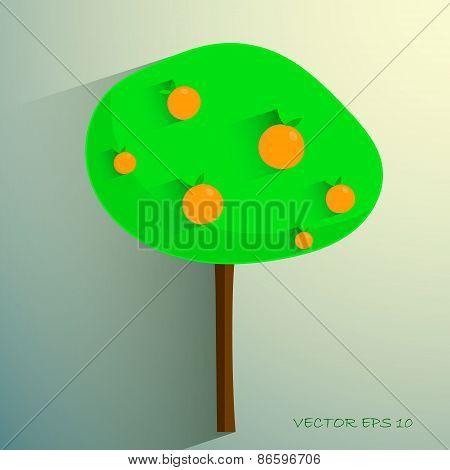 simple stylized orange tree on light background