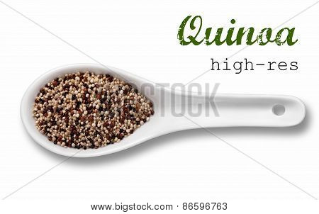 Quinoa Seeds In A Wooden Spoon / High Resolution Product Photography Of Seed In White Porcelain Spoo