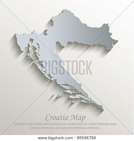 Croatia map white blue card paper 3D vector