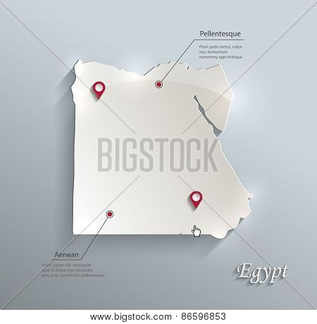 Egypt map blue white card paper 3D vector infographics vector