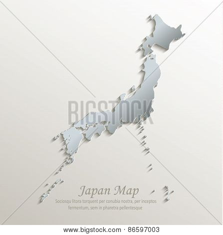 Japan map white blue card paper 3D vector