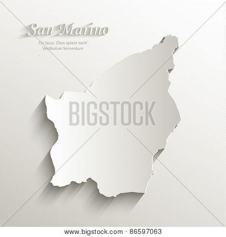 San Marino map card paper 3D natural vector