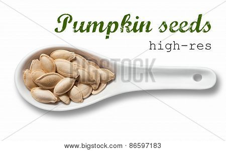 Pumpkin Seeds In White Porcelain Spoon / High Resolution Product Photography Of Seed In White Porcel