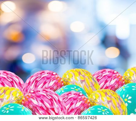 Image Of Blurred Bokeh Light And Easter Eggs  For Background Usage.