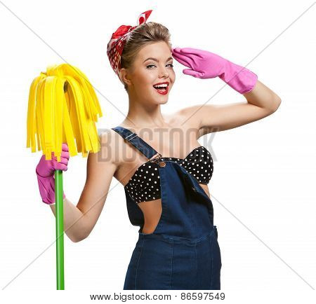 Beautiful Woman Wearing Pink Rubber Protective Gloves Holding Cleaning Mop / Young Beautiful America
