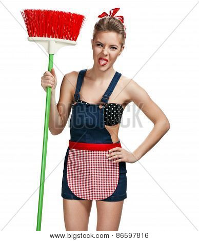 Cleaning Woman Standing Unpleasant While Spring Cleaning With Broom / Young Beautiful American Pin-u