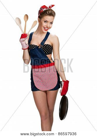 Appealing Maid Wearing Apron With Kitchen Utensils / Young Beautiful American Pin-up Girl Isolated