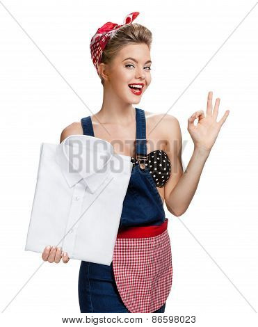Happy Woman Holding Laundered White Shirt And Showing Us It's Okay / Young Beautiful American Pin-up