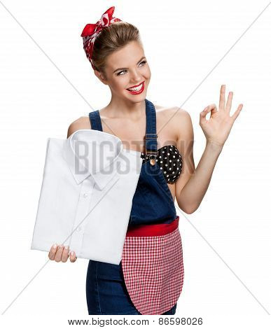 Happy Housewife Holding Mens Laundered Shirt In Purest White And Showing Us It's Okay / Young Beauti