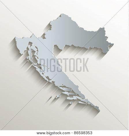 Croatia map white blue card paper 3D raster