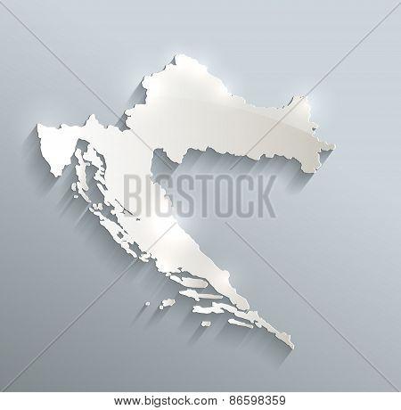 Croatia map blue white card paper 3D vector raster