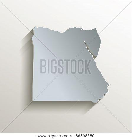 Egypt map white blue card paper 3D raster
