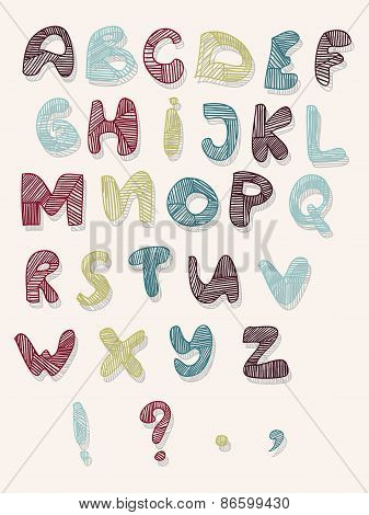 Hand-drawn vector illustration of alphabet letters