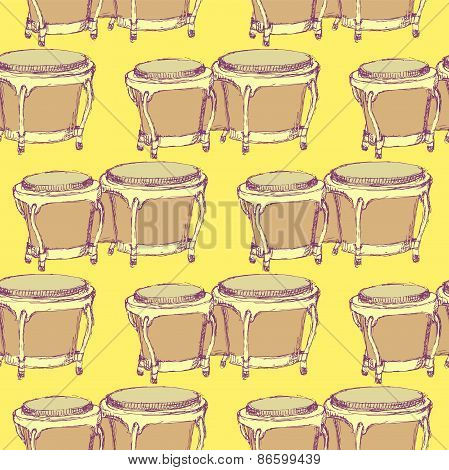 Sketch Bongos Musical Instrument In Vintage Style
