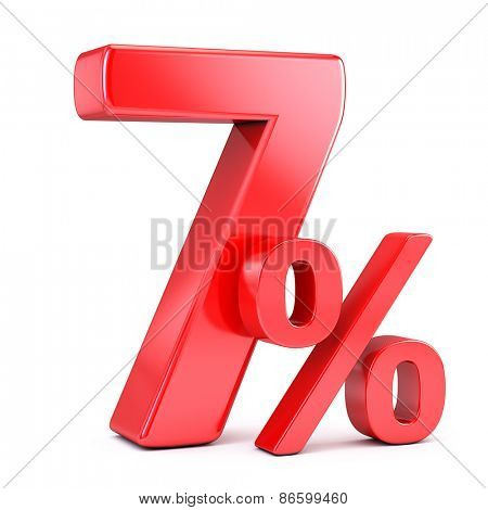 Seven percent on white background