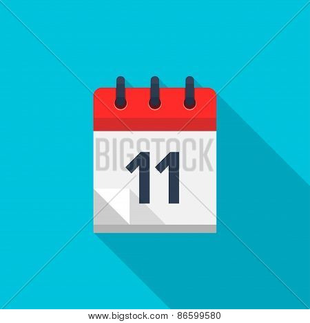 Flat calendar icon. Date and time background. Number 11
