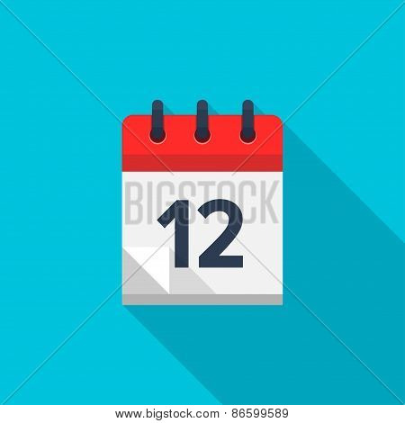 Flat calendar icon. Date and time background. Number 12