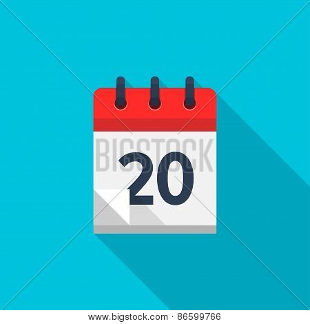 Flat calendar icon. Date and time background. Number 20