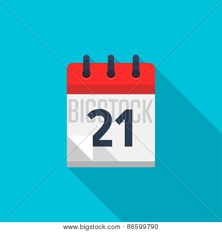 Flat calendar icon. Date and time background. Number 21
